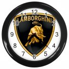"Lamborghini Black Plastic Frame 10"" Wall Clock"
