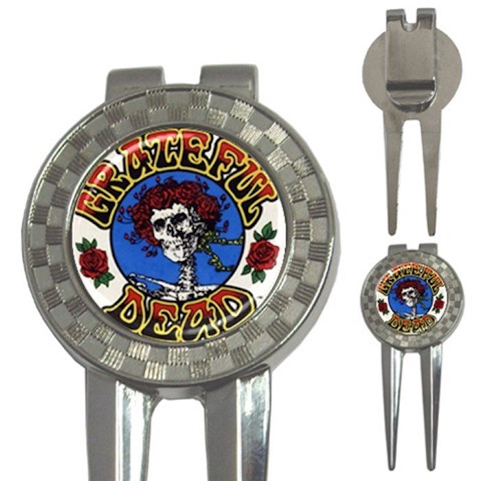 Grateful Dead & Roses High Quality Metal Chrome 3-in-1 Golf Divot