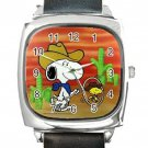 Snoopy & Woostock Western Cowboys Square Metal Watch With Leather Band