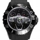 Mercedes Benze Steering Wheel Unisex Round Plastic Sport Watch
