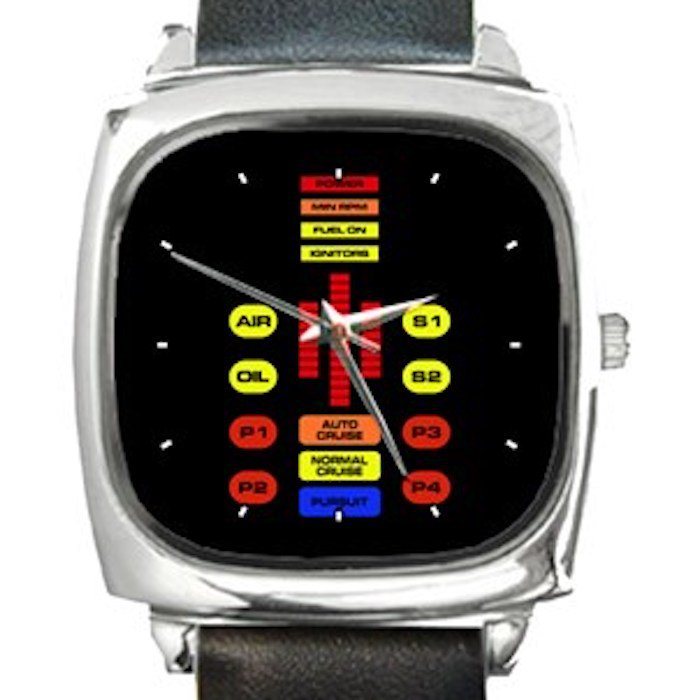 Knight Rider Car Dashboard Square Metal Watch With Leather Band