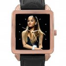 Ariana Grande Rose Gold Leather Watch With Leather Band