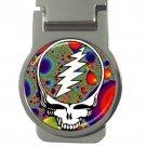 Grateful Dead Fractal High Quality Polished Metal Chrome Round Money Clip