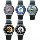 The Adventures of Tintin Unisex Round Silver Metal Watch-Leather Band-5 Designs