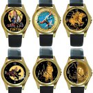 The Adventures of Tintin Unisex Round Gold Metal Watch-Leather Band-6 Designs