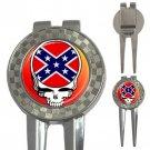 Grateful Dead Dixie Skull High Quality Metal Chrome 3-in-1 Golf Divot
