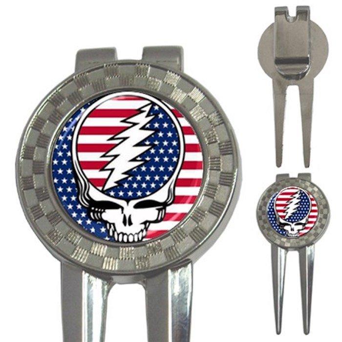 Grateful Dead Skull American Flag High Quality Metal Chrome 3-in-1 Golf Divot