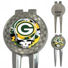 Grateful Dead Green Bay Packers High Quality Metal Chrome 3-in-1 Golf Divot