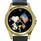 Snoopy & Woodstock With US Flag Unisex Round Gold Metal Watch-Leather Band
