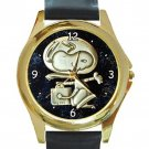 Snoopy Astronaut Unisex Round Gold Metal Watch-Leather Band