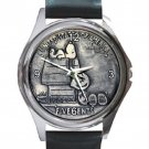 Snoopy & Charlie Brown Vintage 5 cents Coin Unisex Round Metal Watch-Leather Band