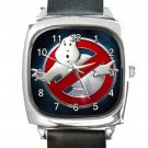 Ghostbusters Movie Logo Square Metal Watch With Leather Band