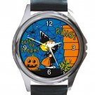 Peanuts Charlie Trick Or Treat Unisex Round Metal Watch-Leather Band