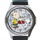Peanuts Charlie & Snoopy 60th Anniversary $2 Coin Unisex Round Metal Watch-Leather Band