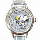 woodstock & Snoopy 60th Anniversary $2 Coin Ladies Round Italian Charm Watch