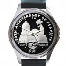 Snoopy & Woodstock Peanuts 50th Anniversary $10 Coin Unisex Round Metal Watch-Leather Band