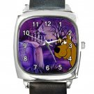 Scooby-Doo At The Cemetry  Square Metal Watch With Leather Band