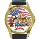 Peanuts & Friends With US Flag Unisex Round Gold Metal Watch-Leather Band