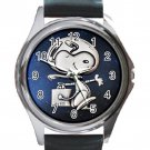 Cute Snoopy Astronaut Unisex Round Metal Watch-Leather Band