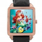 The Little Mermaid Rose Gold Leather Watch With Leather Band