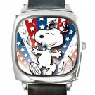 Snoopy & Star Spangles Square Metal Watch With Leather Band