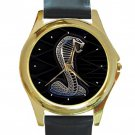 Ford Mustang Shelby Unisex Round Gold Metal Watch-Leather Band