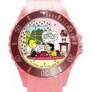 Peanuts Linus & Lucy Ladies Pink Round Plastic Sport Watch