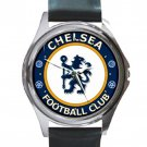 Chelsea Football Club Unisex Round Metal Watch-Leather Band