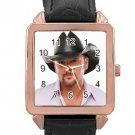 Tim Mcgraw Rose Gold Leather Watch With Leather Band