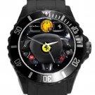 Ferrari Car Steering Wheel Black Round Plastic Sport Watch