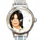 Michael Jackson Logo Round Italian Charm Watch