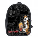 Calvin And Hobbes Cartoon School Leather Backpacks Notebook Bags