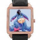 Winnie The Pooh Eeyore Rose Gold Leather Watch With Leather Band
