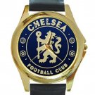 Chelsea Football Club Unisex Round Gold Metal Watch-Leather Band