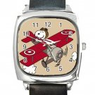 Snoopy Flying Ace Square Metal Watch With Leather Band