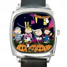 Peanuts & Friends Halloween Square Metal Watch With Leather Band