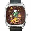 Snoopy Scarecrow Square Metal Watch With Leather Band