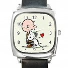 Snoopy Charlie Square Metal Watch With Leather Band