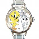 Cute Baby Tweet Bird & Baby Bugs Bunny Round Italian Charm Watch