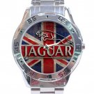 Jaguar Car Logo With British Flag Stainless Steel Analogue Watch