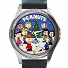 Peanuts & Friends Celebrate Christmas Unisex Round Silver Metal Watch