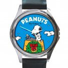 Snoopy Typing On Christmas Day Unisex Round Silver Metal Watch