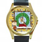 Peanuts Charlie Christmas Unisex Round Gold Metal Watch-Leather Band