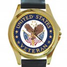 United States Veteran Unisex Round Gold Metal Watch-Leather Band