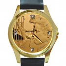 Elvis Presley Jailhouse Rock Unisex Round Gold Metal Watch-Leather Band