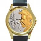 Elvis Presley Silver & Gold Jailhouse Rock Unisex Round Gold Metal Watch-Leather Band