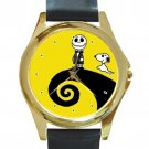 Little Jack Skellington & Snoopy Unisex Round Gold Metal Watch-Leather Band