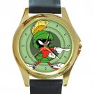 Funny Marvin The Martian Unisex Round Gold Metal Watch-Leather Band