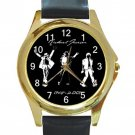 Michael Jackson Moonwalker Unisex Round Gold Metal Watch-Leather Band