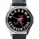 Alabama Crimson Tide Football Black Unisex Round Silver Metal Watch